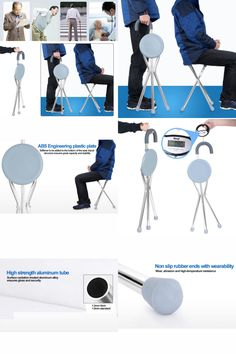 [Visit to Buy] 1pc Adjustable Folding Portable Aluminium Massage Walking Stick Tripod Stool Health Care Travel Cane Chair Seat For Old man #Advertisement