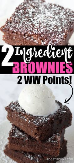 health snacks You can totally have dessert and eat great when on Weight Watchers and these soft, chocolaty and moist brownies are always a hit in our house! ONLY TWO POINTS for these Weight Watchers 2 ingredient brownies! Weight Watchers Brownies, Weight Watcher Desserts, Weight Watchers Snacks, Weight Watchers Tipps, Weight Watchers Kuchen, Points Weight Watchers, Weight Watcher Cookies, Weight Watchers Meal Plans, Desert Recipes