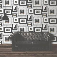 Muriva Manhattan in Frame Wallpaper Black / Yellow / White - Muriva from I love wallpaper UK