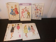 Inventory 41 Lot of 5 Vintage Patterns Girls Size by RomanceWriter