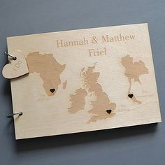 Personalised Trio Destinations Guest Book with Heart Cut-Outs