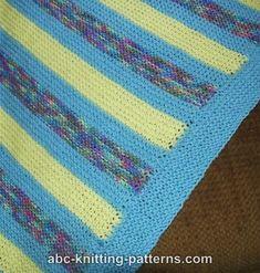 ABC Knitting Patterns - Easy Garter Stitch Baby Blanket Crochet Baby Blanket Free Pattern, Baby Afghan Crochet, Baby Knitting Patterns, Baby Patterns, Free Knitting, Beginner Knitting, Baby Afghans, Blanket Patterns, Knit Crochet