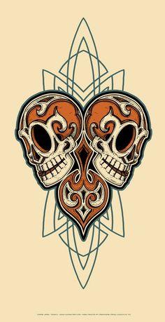 Double Skulls Orange N Blue - by Jeral Tidwell Lowrider, Memento Mori, Skull Design, Design Art, Fantasy Anime, Pinstripe Art, Pinstriping Designs, Pt Cruiser, Garage Art