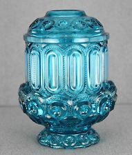 VINTAGE PRESSED GLASS FAIRY LAMP BLUE MOON AND STAR PATTERN 6.5