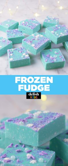 Elsa would totally approve of this Frozen Fudge. Get the recipe at Delish.com. #recipe #easyrecipes #dessert #fudge #frozen #kidfriendly #whitechocolate