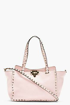 Valentino Pale Pink Leather Rockstud Small Trapeze Tote on shopstyle.com
