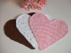 Crocheted Neapolitan Cotton Heart Dishcloths