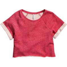 H&M Sweatshirt top ($8.74) ❤ liked on Polyvore featuring tops, shirts, crop tops, t-shirts, red, h&m, red crop top, red crop shirt, crop top and cotton short sleeve shirts