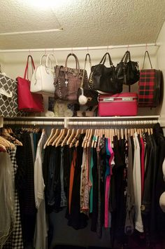 Maybe 2 rods spaced out with board on top to make shelf in closet for light stuf… – Purses And Gandbags Organization Organizing Purses In Closet, Bathroom Closet Organization, Closet Storage, Home Organization, Organize Purses, Storage For Purses, Organize Bathroom Closet, How To Organize Your Closet, Clothing Organization