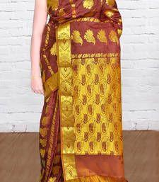 Buy Coffee brown woven silk saree with blouse kanchipuram-silk-saree online