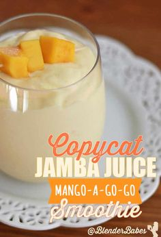 Creamy tropical flavor with a bright sunshine-y vibe, this diy copycat jamba juice mango-a-go-go smoothie is the perfect afternoon pick me up Jamba Juice Recipes, Pinapple Smoothie Recipes, Mango Smoothie Healthy, Smoothie Without Banana, Tropical Smoothie Recipes, Mango Pineapple Smoothie, Blackberry Smoothie, Juice Smoothie, Fruit Smoothies