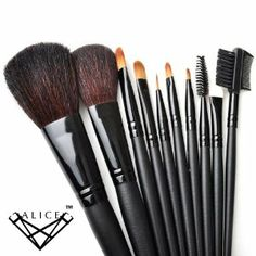 ALICE Makeup 10pcs. Professional Brush Set With Nylon Pouch - Black by ALICE. $15.99. The most organized and elegant way to carry your make up and cosmetics. 10 Piece brush set in a beautiful pouch. Brushes are made of quality animal bristle and synthetic fiber for lasting performance. Eco-Friendly. high quality makeup case designed for professional use. Roll up carrying case stores and protects brushes with ease.. Brand: ALICE Model: HLWX-EI16515Size: Close siz...