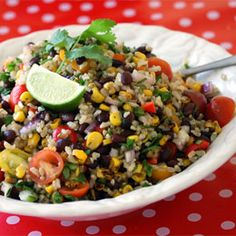 A Big Serving Bowlful Of Fiesta Rice Salad; Zesty Brown Rice, Black Beans & Veggies...Hearty, Healthy, And A Great Make-Ahead Dish. Toss In Pre-Cooked Shrimp Or Chicken To Make It Even More Substantial.