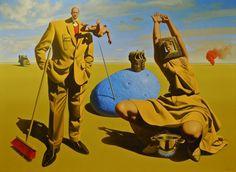 De schilderijen van kunstenaar Jan Bouman zijn het resultaat van schetsen en studies, waarin zijn figuren worden ontworpen.