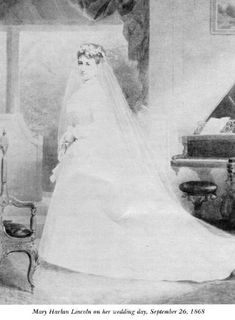 Robert Lincoln's wife, Mary Harlan Lincoln, on her wedding day (September 26, 1868)