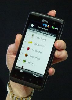 LG phone connected to smart fridge