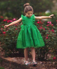 Look what I found on #zulily! Emerald Alice Flutter-Sleeve Dress - Infant, Toddler & Girls #zulilyfinds