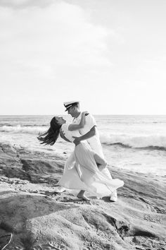 Hannah and Joe's gorgeously romantic beach engagement session at Windansea Beach in La Jolla, CA shows us what military love is all about. Photos by: Studio Sequoia Beach Engagement Photos, Engagement Photography, Engagement Session, Wedding Photography, Military Wedding, Military Love, Military Dresses, San Diego Beach, Romantic Beach