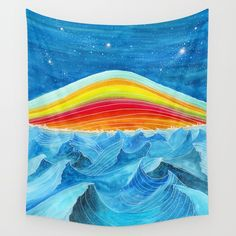 Rainbow Mountain Wall Tapestry. #painting #watercolor #abstract #pattern #pop-art #ink #landscape #sea #water #ocean #nature #stars #sky #blue #multicolor #viviana-gonzalez