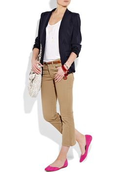 Bright flats with a neutral outfit, though id probably wear red flats instead of pink