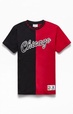 Repping your team just got bolder thanks to the Mitchell and Ness Chicago Bulls Split T-Shirt. This cool color-blocked tee features a jacquard print neckline and team branding throughout. Swag Outfits For Girls, Kids Outfits, Pelo Mohawk, Chicago Shopping, Chicago Bulls, Pacsun, Mens Tees, Cool Shirts, Graphic Tees