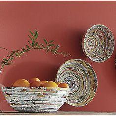 Recycled Magazine Decorative Bowl Set