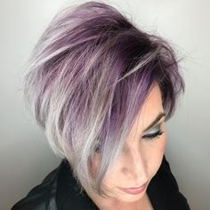 Short Silver Purple Hair