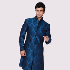 Royal Blue Pure Brocade Readymade Sherwani with Dhoti