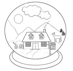 Snow Globe Coloring Page  Snow Globes  Pinterest