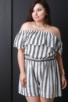 Striped Ruffle Off-The-Shoulder Romper