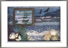 MIXED MEDIA PICTURE 3D SHADOW BOX MINIATURE SEASCAPE DIORAMA | eBay