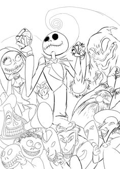 Nightmare Before Christmas Adult Coloring Book Page Adult