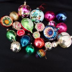 This is a beautiful selection of traditional glass Christmas Tree ornaments.  All vintage, mostly made in Germany or Europe.  The biggest  is approx.