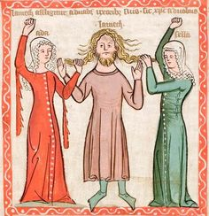 Speculum humaniae salvationis, Lamech tormented by his wives, 14thc German. #dagged #tippets