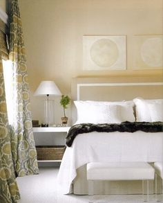 Love the creamy wall colors with the curtains.