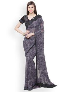 Shaily Grey Georgette Printed Saree - Sarees for Women 5800346 India Sari, Winter 2018 Fashion, Fashion Spring, Grey Saree, T Shirts Uk, Printed Sarees, Fashion Pants, Saree Fashion, Beautiful Saree