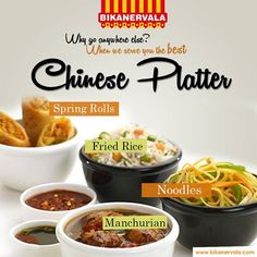 #Bikanervala serves you the best #chineseplatter!! Visit your nearest outlet !! #noodles #chinese #friedrice #springrolls #restaurant