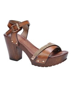 d610c1d92140 Another great find on  zulily! Tan Rhinestone Band Vint Sandal  zulilyfinds  Tan Sandals