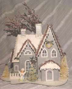 Silver Vintage Inspired Christmas Putz House with Porcelain Angel LARGE