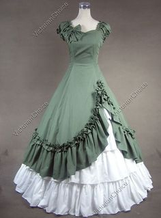 Unique, Elegant Designer Green and White Sweetheart Cotton Victorian Dress for Full Selection of gothic victorian lolita dresses, Tailor Made, Fast Shipping. Buy Green and White Sweetheart Cotton Victorian Dress Now! 1800s Dresses, Old Dresses, Ball Gown Dresses, Pretty Dresses, Beautiful Dresses, Vintage Dresses, Vintage Outfits, Dress Up, Gown Skirt