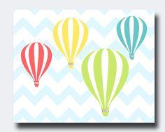 Hot Air Balloon Nursery Wall Print, Boys And Girls Nursery Wall Art and Bedroom Decor - B320- Custom Colour - Unframed
