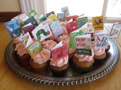 Book themed baby shower~ cupcake toppers. DIY, could make all Beatrix Potter books?