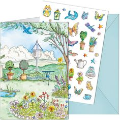 Butterfly Garden Sticker Card - give the recipient the chance to design their very own country garden. £3 each, shop now: http://tinyurl.com/jv5yf68