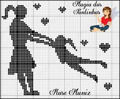 Cross Stitch Love, Cross Stitch Designs, Cross Stitch Patterns, C2c Crochet, Filet Crochet, Knitting Charts, Baby Knitting, Pixel Art Coeur, Cross Stitch Silhouette