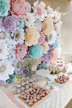 2017 Bridal Shower Ideas Unicorn Rainbow theme Bridal Shower Decor Cotton Candy Dessert Table Design Decor Cupcakes Pink Gold Sprinkles Macaroons Dessert Macaroon Table Decor Flowers Flower Wall Backdrop Flower