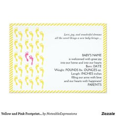 Shop Yellow and Pink Footprints Baby Announcement created by NoteableExpressions. Unique Baby Announcement, Baby Girl Birth Announcement, Wonderful Dream, Footprints, Baby Names, Smudging, Paper Texture, New Baby Products, Joy