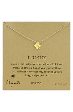 Dogeared 'Luck' Boxed Clover Pendant Necklace available at #Nordstrom