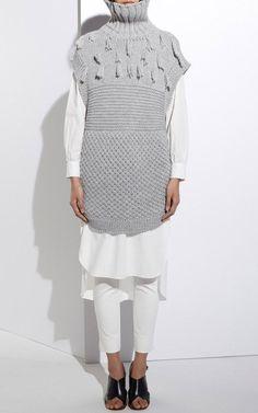 Ines Fringe Multi Stitch Vest by Apiece Apart for Preorder on Moda Operandi