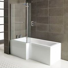 Bliss L-Shape Acrylic Shower Bath with Screen and Panel -,good price! L Shaped Bathroom, Shower Screen, Towel Rail, Bathtub, Home, Bliss, Bathrooms, Amazon, Google Search