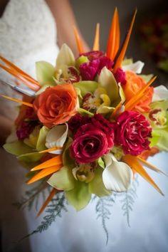 Inspiration mariage tropical - le bouquet de fleurs